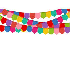 Colored flags on a holiday garland vector