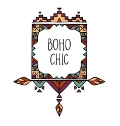 colorful hand drawn boho style frame with text vector image