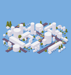 Concept isometric city with buildings and trees vector