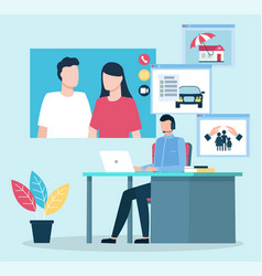 Consultation couple on insurance issues vector