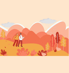 Couple hiking in autumn mountains vector