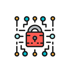Cyber lock web security cryptography flat color vector
