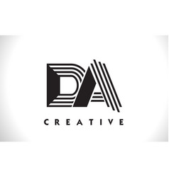 Da logo letter with black lines design line letter vector