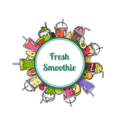 doodle smoothie circle with place for text vector image