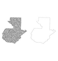 dotted contour map of guatemala vector image