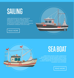 Fishing business flyers with small sea boats vector