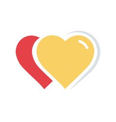 Flat color 2 heart icon vector