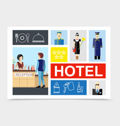 flat hotel colorful composition vector image