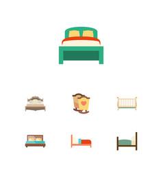 Flat mattress set of bedroom cot bearings and vector