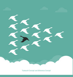 Flock of a duck flying in the sky teamwork vector