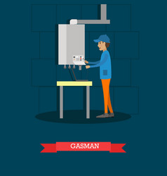 Gasman concept in flat style vector