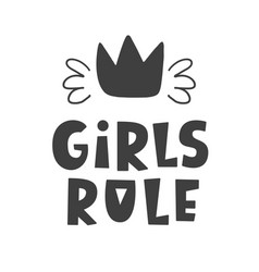 girls rule scandinavian style childish poster vector image