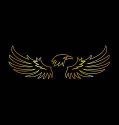 Golden line eagle with black background vector