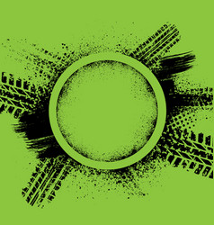 green grunge tire track background vector image
