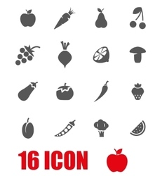 grey fruit and vegetables icon set vector image