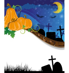 Halloween pumpkins on the cemetery vector image