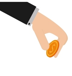 hand money coin business person vector image
