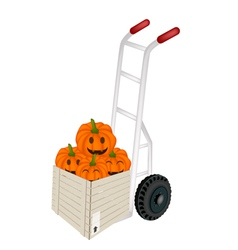Hand truck loading jack-o-lantern pumpkins vector