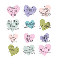 Happy mothers day card set calligraphy messages vector