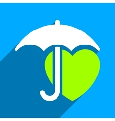 Heart Umbrella Protection Flat Square Icon with vector