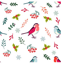 Holiday pattern with cute robin birds vector