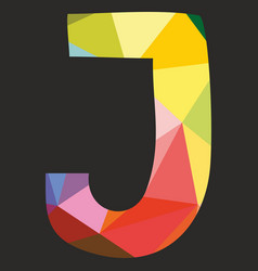 J low poly colorful alphabet letter isolated vector