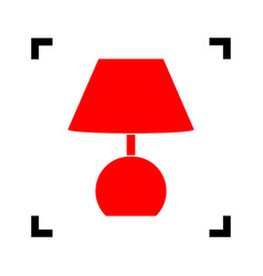 Lamp sign red icon inside vector
