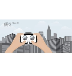 Man hand hold Virtual reality glasses vector image