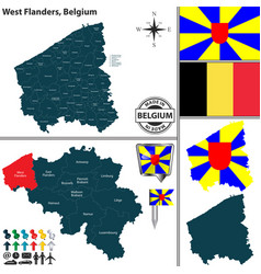 map of west flanders belgium vector image