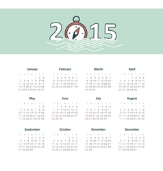 Marine calendar 2015 year with compass vector image