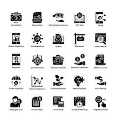 market and economy glyph icons set vector image