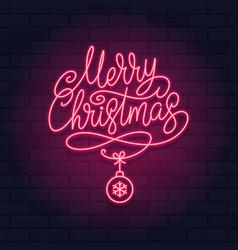 merry christmas neon light sign on a brick wall vector image