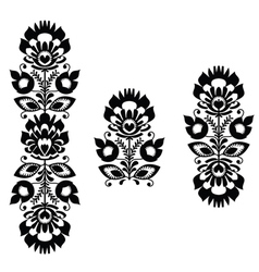Monochrome polish folk traditional pattern stripes vector
