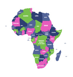 multicolored political map of africa continent vector image