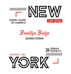 new york typography design for t shirt print vector image