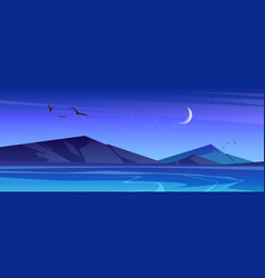 night landscape with sea and mountains on horizon vector image
