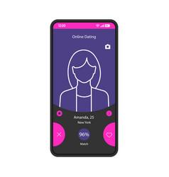 Online dating app smartphone interface template vector