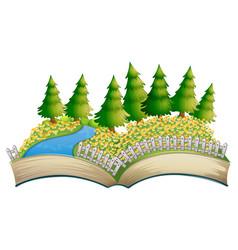 Open book flower field theme vector
