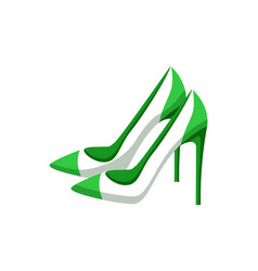 pair modern heeled shoes multicolored banner vector image