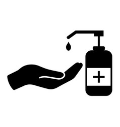 Palm out applying hand sanitizer diagram black vector
