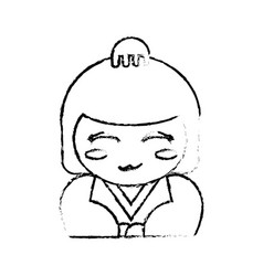 portrait kokeshi doll chinese sketch vector image