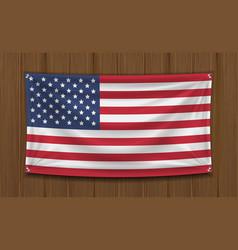 real america flag on wall wood board vector image