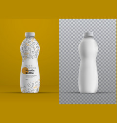 realistic mockup plastic curved bottle for juice vector image