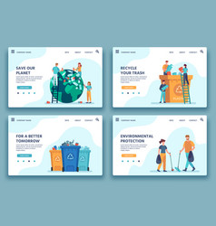 Recycling trash landing page people collecting vector