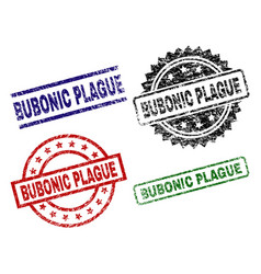 Scratched textured bubonic plague seal stamps vector