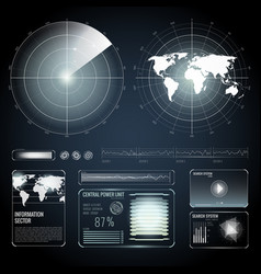 Screen elements of search radar set vector