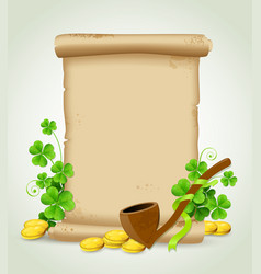 scroll and clover leaves vector image