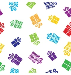 Seamless Gift pattern boxes on white background vector image