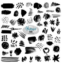 set black brush strokes paint ink vector image