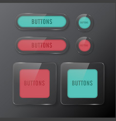 set buttons web glass color red and green vector image